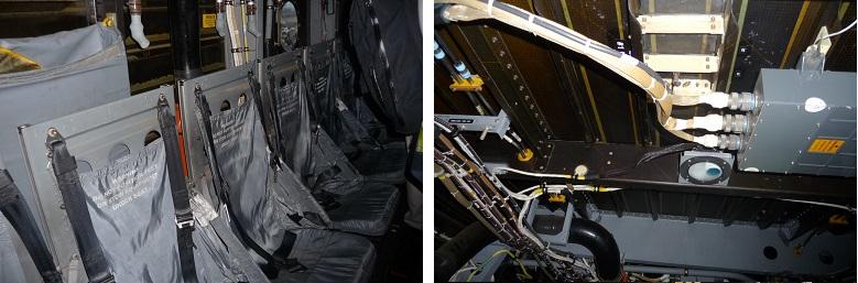 オスプレイ内部の座席と天井
