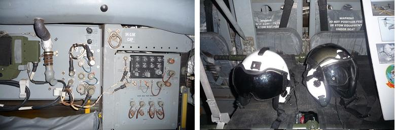 オスプレイ内部と座席のヘルメット